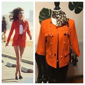 Bright orange safari jacket blazer w gold buttons